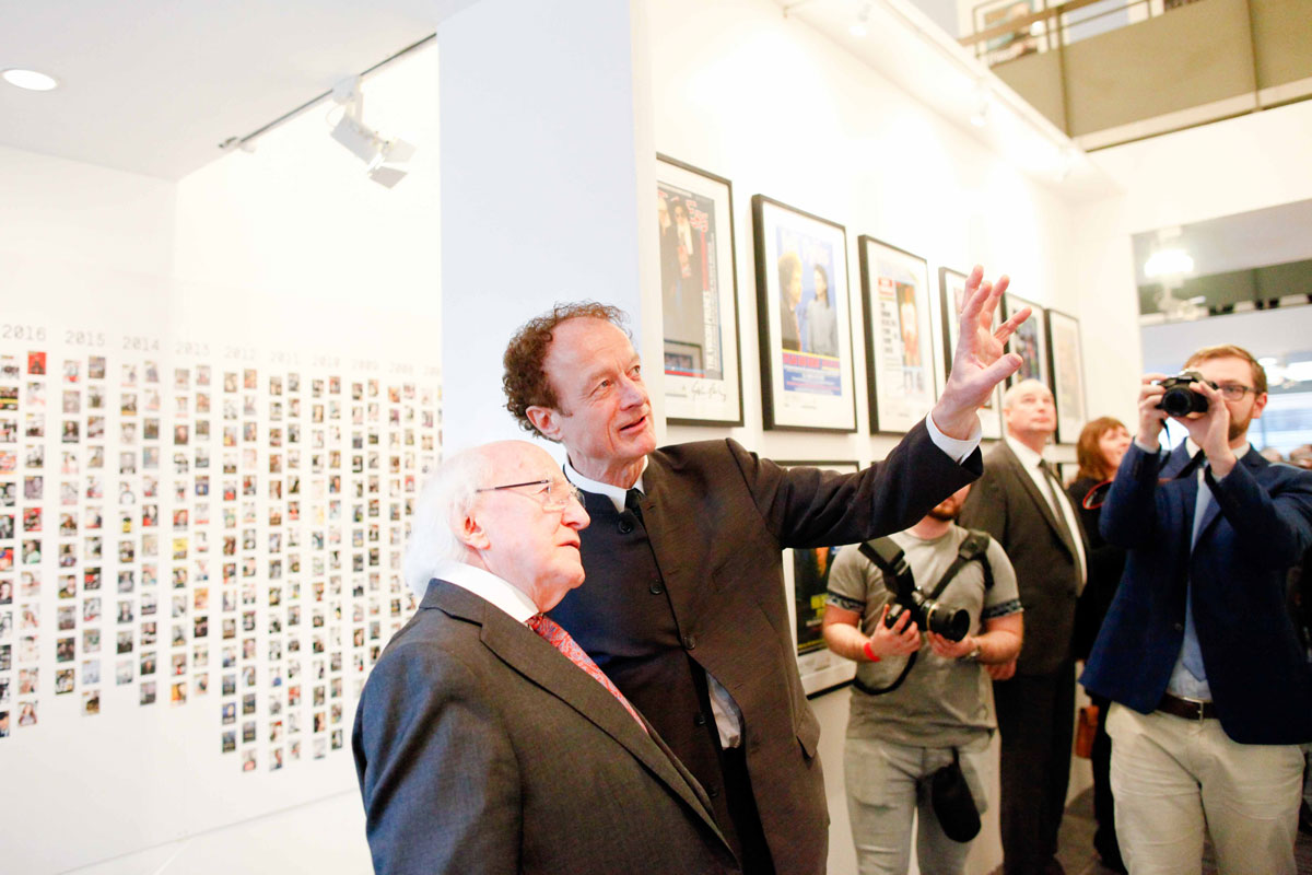 Hot Press Editor Niall Stokes, President of Ireland Michael D. Higgins (Photo: Kathrin Baumbach)