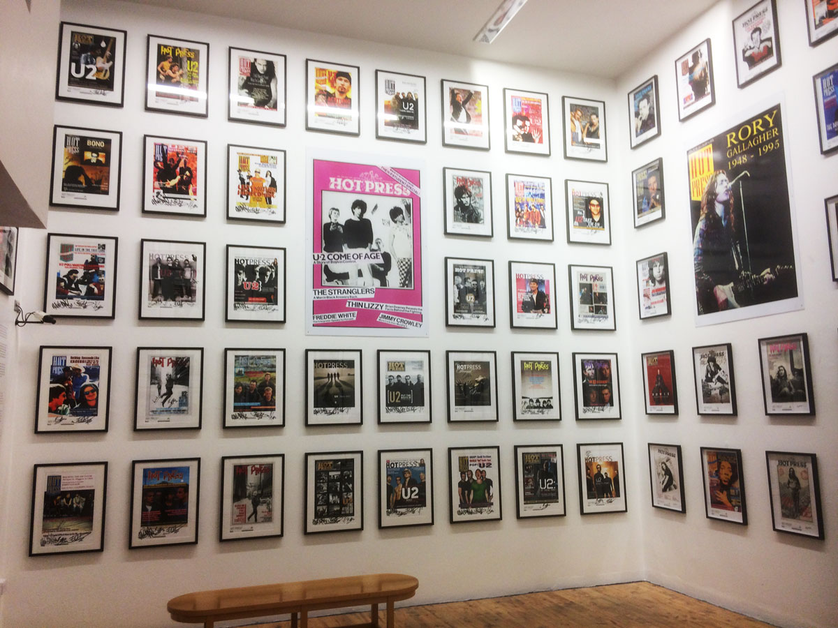 U2 Wall featuring all forty-plus of their Hot Press covers (Photo: Trev McCormack)